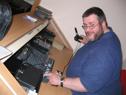 Andy Curtis and his electronic equipment